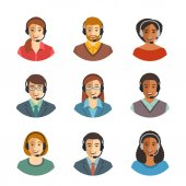Call center agents flat avatars