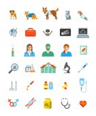 Vet clinic services vector icons