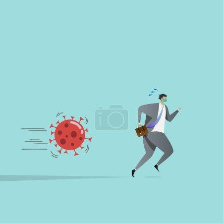 Illustration pour Les gens d'affaires fuient les agents pathogènes du coronavirus, touchés par l'épidémie. l'impact de l'épidémie de la COVID-19 fait que les entreprises manquent de revenus . - image libre de droit