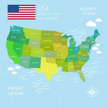 Vector  USA Map with different colors for each country.