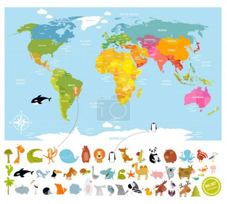 Vector world map  with lots of animals