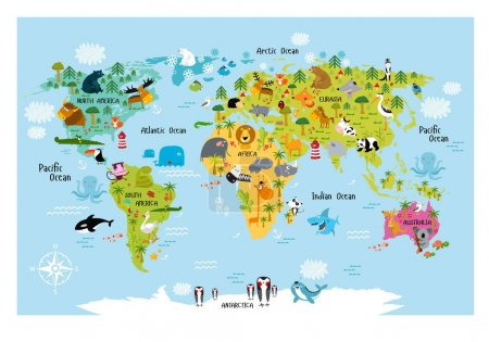 Illustration for Vector map of the world with cartoon animals for kids. Europe, Asia, South America, North America, Australia, Africa. Lion, crocodile, kangaroo. koala, whale, bear, elephant, shark, toucan, parrot - Royalty Free Image