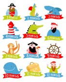 Pirate Vector set of stickers for children 1 - 12 months
