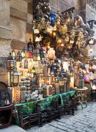 Stacked illuminated copper lanterns, Khan El Khalili bazaar, Cairo, Egypt
