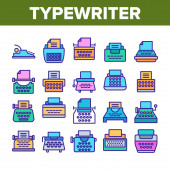 Typewriter Collection Elements Icons Set Vector
