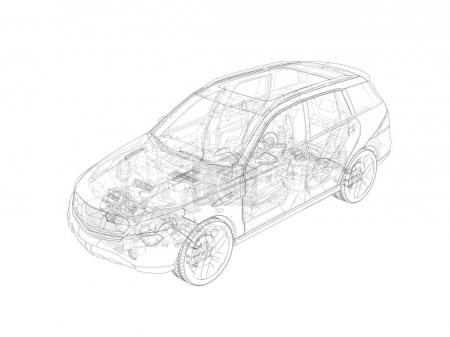 Suv technical drawing with all main internal parts.