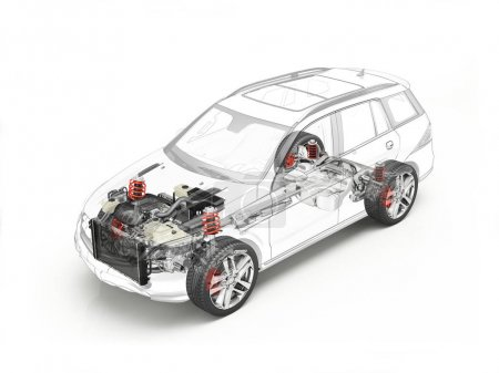 Suv cutaway drawing showing undercarriage details with accessori