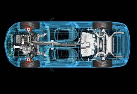 Photo pour Illustration technique en 3D de la voiture SUV avec effet rayons X. Vue de dessus. Moteur, roues et intérieurs. Sur fond noir . - image libre de droit