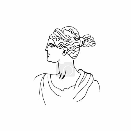 Illustration for Artemis vector marble head. Work of art of ancient Greece era. An illustration of the goddess hunting on a white isolated background hand drawn the style of the line. Design for web, cards, printing. - Royalty Free Image