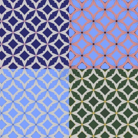 Illustration for Set of four vector illustration. Geometric seamless pattern - Royalty Free Image