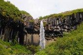 Svartifoss waterfall surrounded by dark lava columns,Iceland
