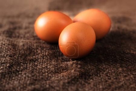 Heap of fresh brown Eggs