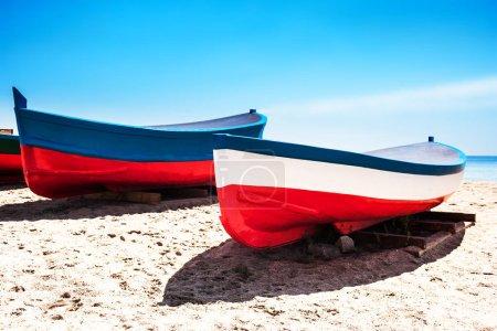 Beach sand, sea and boats in Badalona