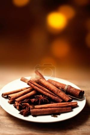 Cinnamon sticks on plate