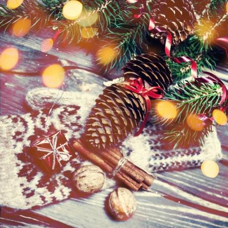 Christmasdecorations on dark wood