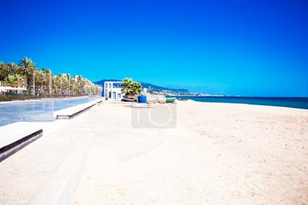 Empty sea and summer beach background with copy space -  tropical  vacation and travel conce