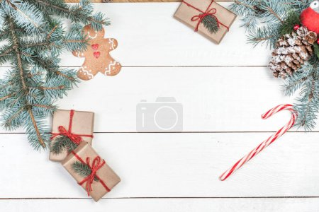 Christmas background with holiday decoration elements,