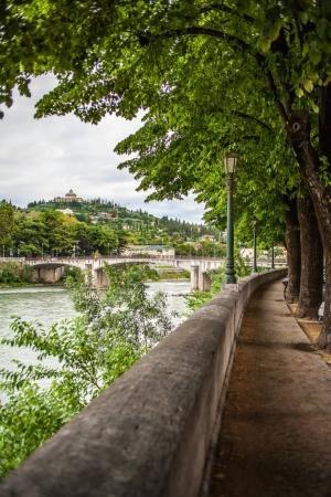 Verona embankment on Adige river. Veneto region. Italy. Sunny summer day panorama. Beautiful landscape with bridge and trees