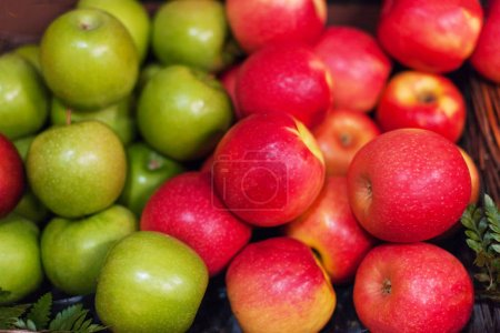 Red apples background. Organic Ripe apples  at  market. Harvesting concep