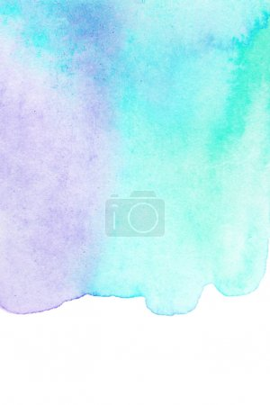 Abstract watercolor hand paint texture, isolated on white background. Teal or turquoise Watercolour spot, color splash