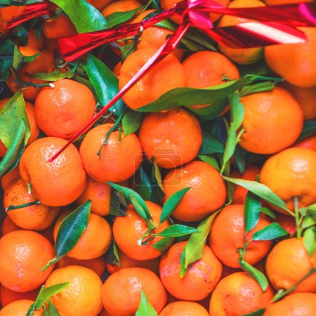 Citrus. Fresh organic Tangerines in a box on display at a farmers market. Ripe oranges. Harvest concept. Top view