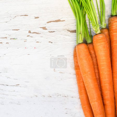 A bunch of carrots. Fresh carrots heap with green stems. Raw  Carrots on rustic white wooden background. Close up.