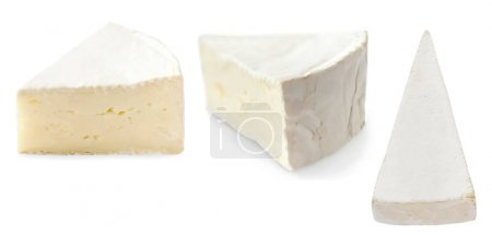 Photo for Pieces of camembert cheese isolated on white background close up. Fresh soft cheese - Royalty Free Image