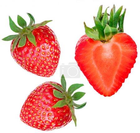 Fresh ripe strawberry isolated on white background
