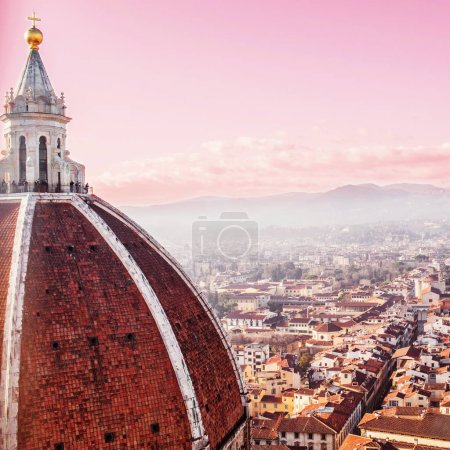 Florence at sunset, city skyline. Florence Duomo. Basilica di Santa Maria del Fiore.