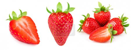 A set of fresh strawberry isolated on white background. Sweet st