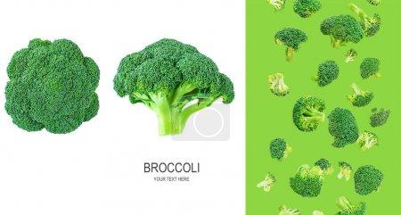 Photo pour Mise en page créative en brocoli. Brocoli volant. Modèle. Légumes verts frais . - image libre de droit