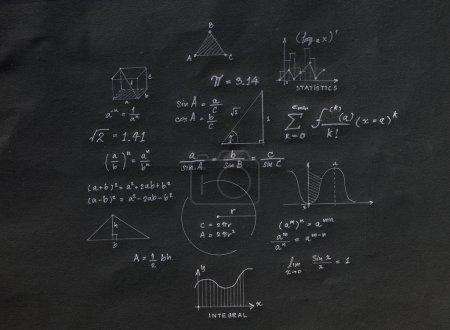 Math geometry formulas on black background.