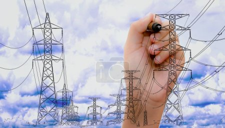 transmission tower sketch with high voltage on blue sky with human hand