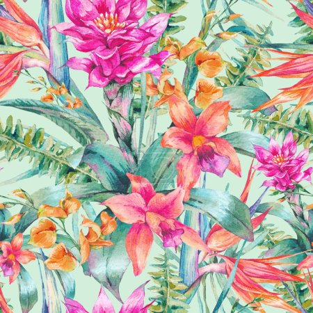 Photo for Watercolor vintage floral tropical seamless pattern. Exotic flowers, Bird of Paradise, twigs and leaves. Botanical bright classic illustration isolated on green background. - Royalty Free Image