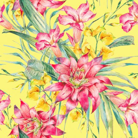 Photo for Watercolor vintage floral tropical seamless pattern. Exotic flowers, twigs and leaves. Botanical bright classic illustration isolated on yellow background. - Royalty Free Image