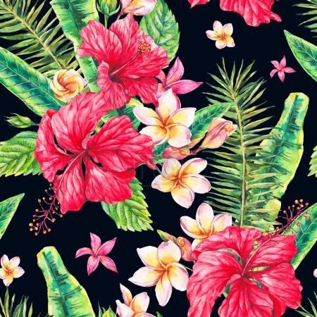 Photo pour Aquarelle vintage floral tropical motif sans couture. Fleurs exotiques, Plumeria, Hibiscus chinois, brindilles et feuilles. Illustration classique lumineuse botanique isolée sur fond noir . - image libre de droit