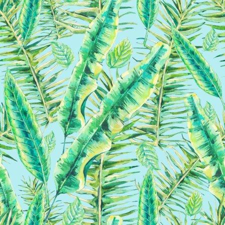 Photo pour Aquarelle Fond exotique sans couture avec feuilles tropicales, illustration botanique - image libre de droit