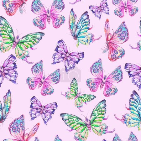 Photo for Watercolor seamless pattern with colorful butterflies, nature illustration on pink background - Royalty Free Image