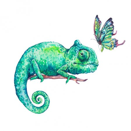 Photo for Watercolor green chameleon with butterflies, Natural bright classic illustration isolated on white background. - Royalty Free Image