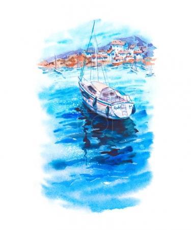 Photo pour Paysage aquarelle d'été avec mer azur, bateaux, yachts, ciel bleu et ville côtière blanche, illustration marine lumineuse dessinée à la main isolée sur fond blanc - image libre de droit