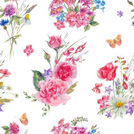 Photo pour Aquarelle transparente motif avec l'été de fleurs sauvages et roses sur fond blanc, naturel vintage botanique floral illustration - image libre de droit