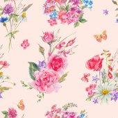 """Постер, картина, фотообои """"Акварель бесшовный паттерн с полевыми цветами и розами"""""""