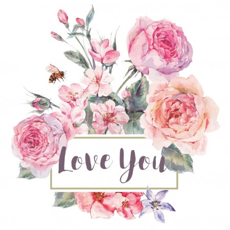 Illustration for Classical vector spring vintage floral greeting card, bouquet of pink flowers blooming branches of cherry, english roses and bee, botanical natural watercolor illustration on white background Love You - Royalty Free Image