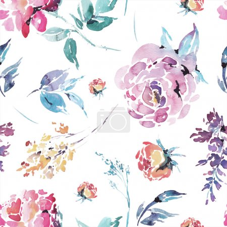 Illustration for Abstract vector watercolor floral seamless pattern, red watercolor roses - flowers, twigs, leaves, buds. Hand painted vintage floral illustration on white background - Royalty Free Image