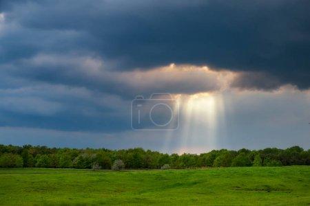 Photo pour Rayons de soleil sur le champ orageux - image libre de droit
