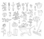 A vector set of whimsical retro gardening theme clip arts coloring book