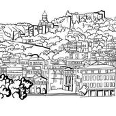 Sketch of the species on the Shuris-Tsikha serf complex of Narikala Historical district of Tbilisi Georgia For coloring books