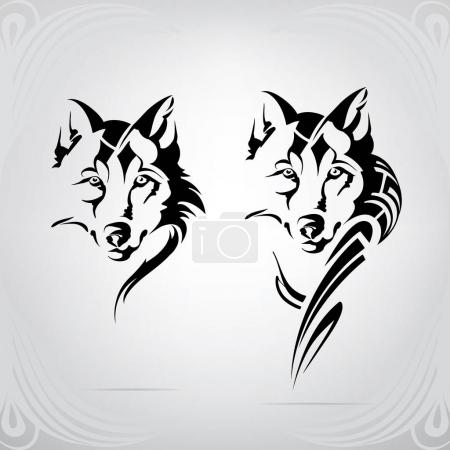 Illustration pour Loup dans un ornement décoratif - image libre de droit