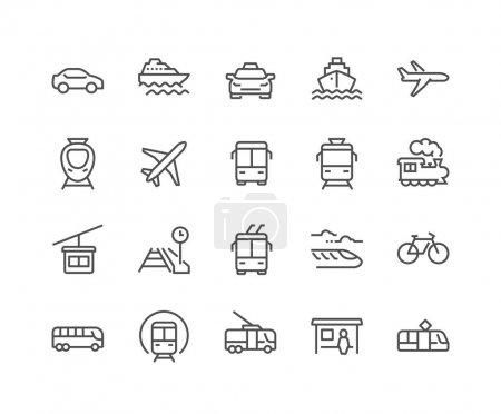 Photo pour Ensemble simple d'icônes de ligne vectorielle liées aux transports publics. Contient des icônes telles que Taxi, Train, Tram et plus. Un AVC modifiable. 48x48 Pixel Parfait . - image libre de droit