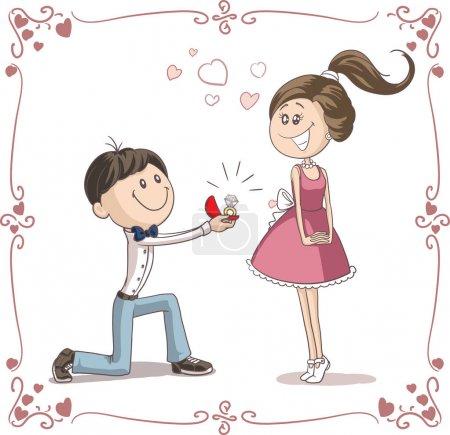 Illustration pour Vecteur d'un petit ami donnant une bague de fiançailles à sa petite amie - image libre de droit
